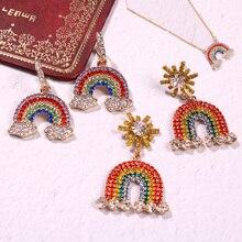 LEADERBEADS Womens  Luxury Full Crystal Rainbow Clouds Earrings Girls Cute Rhinestone Necklace Costume Jewelry Accessories