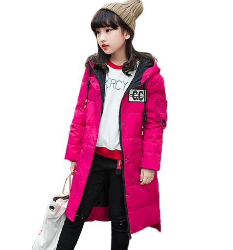 Fashion Winter Down Jacket For Girls hooded Long Coat Children Snow Warm Thick Parka Teenage Girls Outerwear fashion long parka kids long parkas for girls fur hooded coat winter warm down jacket children outerwear infants thick overcoat