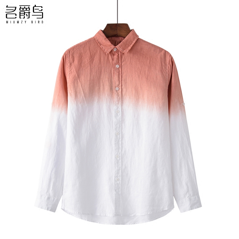 2018 fresh gradient linen shirts men long sleeve casual summer breathable loose sand is prevented bask in cotton and linen shirt