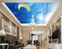 Home Decoration Sky Clouds Meteor Moon Living Room Ceiling Non Woven Wallpaper 3d Wallpaper Mural Ceiling