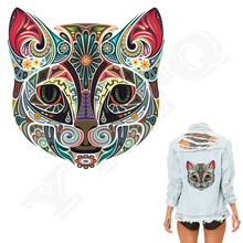 10pcs/lot Iron-on Transfers Cat With Pink Ears Patches Print On T-shirt Jeans A-level Washable Hot Ethnic Style Patch