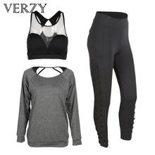 New 2017 Spring Sport Suit Women Tight Sleeve Yoga Set Mesh Gym Bra Elastic Legging Pants