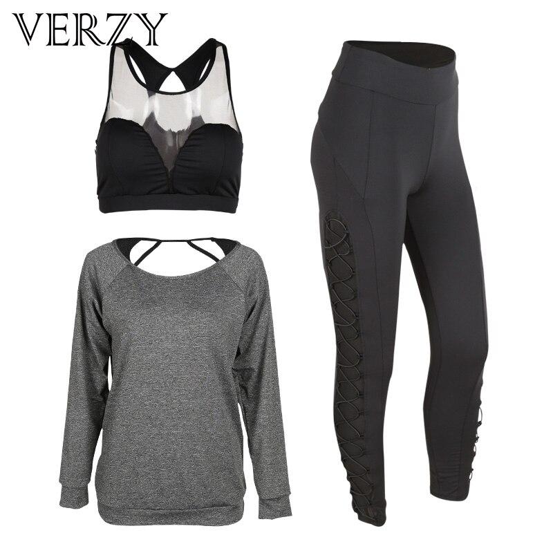 Nouvelle 2017 Printemps Sport Costume Femmes Serré Manches Yoga Ensemble Mesh Gym Soutien-Gorge Élastique Legging Pantalon Remise En Forme Confortable Sport 3 pièce