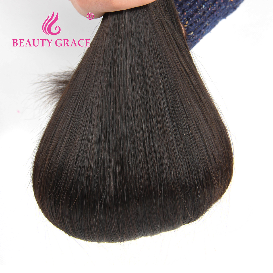 Beauty Grace Straight Peruvian Hair Bundles With Closure 4 * 4 - Mänskligt hår (svart) - Foto 5