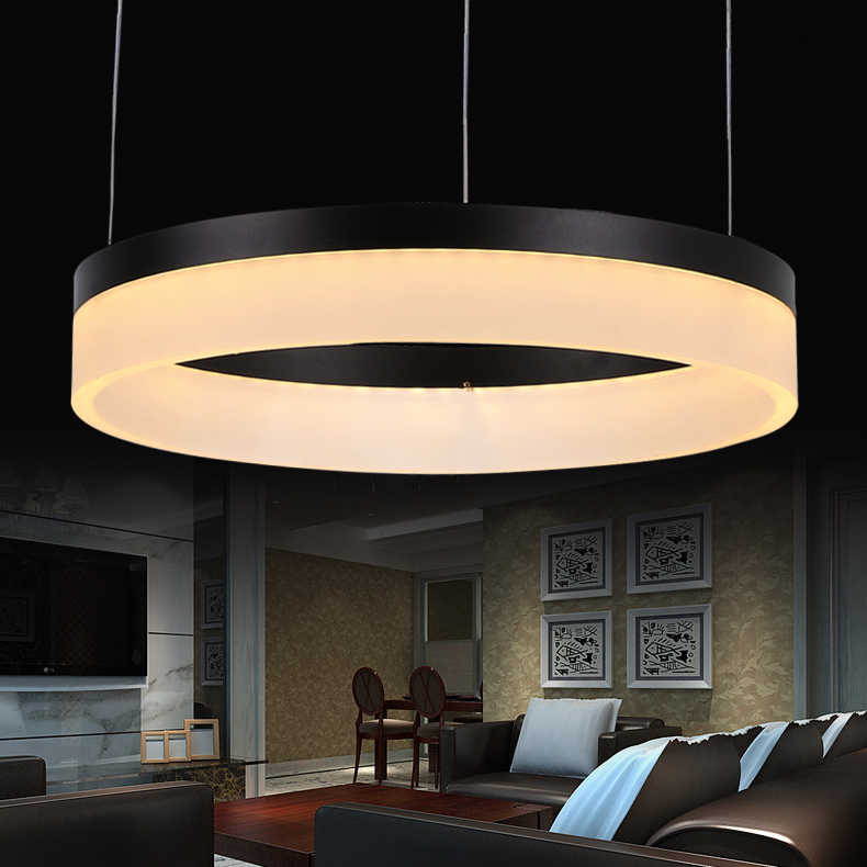 Online Shop LED Pendant Lights Lamps Living Room Modern Restaurant Fashion Circle Lighting 6000K 3000K Black Silver