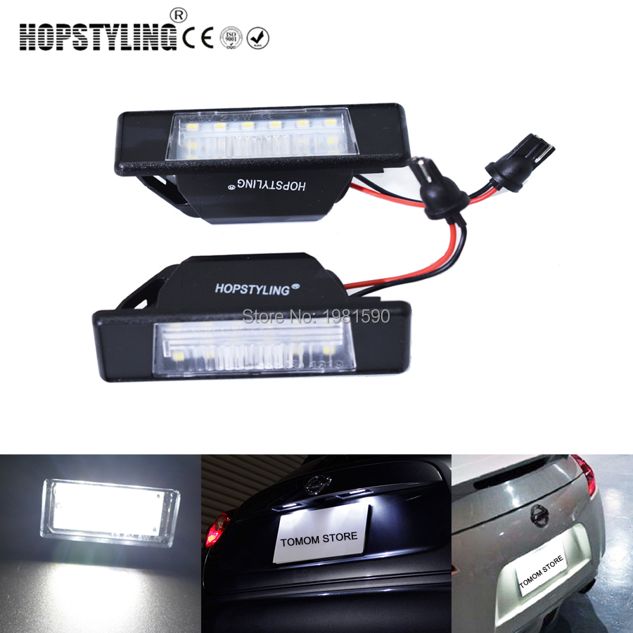 Hopstyling 2x Error Free Xenon White LED License Plate light for Nissan Qashqai Pathfinder R51 JUKE Primera P12 X-trail car lamp