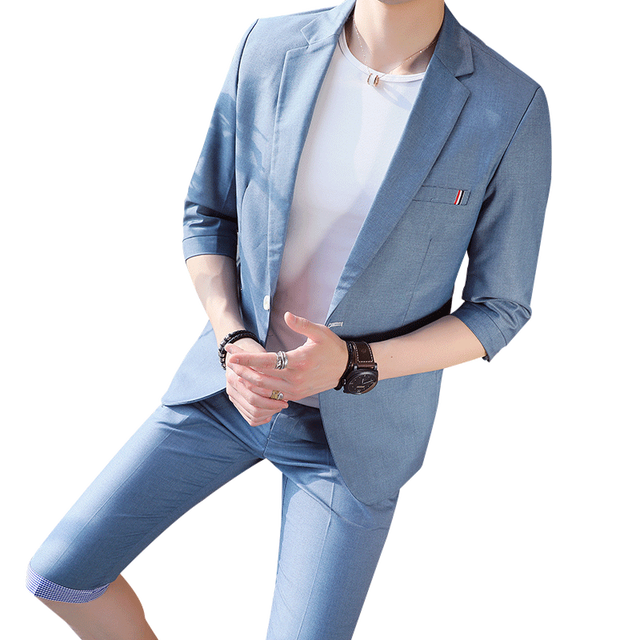 (Front + pants) 2018 spring new suit suit sleeves small West Slim casual two-piece summer five points sleeve men