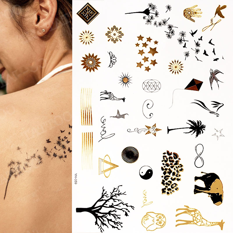 Minimalist Gold Metallic Temporary Tattoos,Over 25 Tattoo Designs Gold Black Silver (1 Sheets)