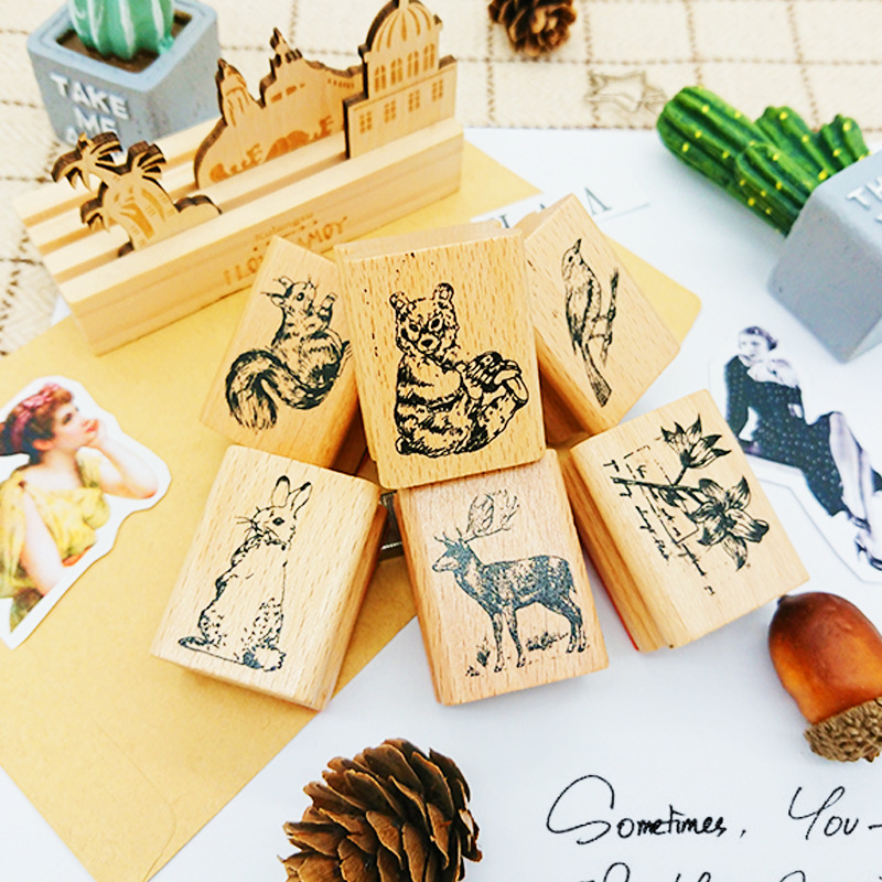Cute Forest Animals Vintage Stamp Diy Wooden Rubber Stamps Seal For Scrapbooking Student Prize Promotional Gift Stationery