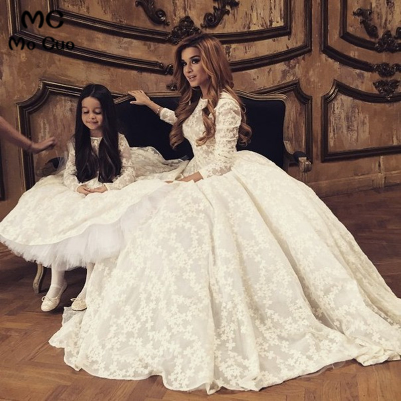 2018 Ivory Lace Zipper Back   Flower     Girl     Dress   for Weddings First Communion   Dresses   for   Girls   Mother and Daughter   Dress