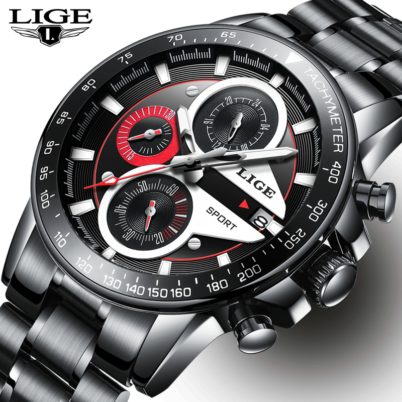 LIGE Mens Watches Top Brand Luxury Fashion Business Quartz Watch Men Sport Full Steel Waterproof Black Clock relogio masculino xinge top brand luxury leather strap military watches male sport clock business 2017 quartz men fashion wrist watches xg1080