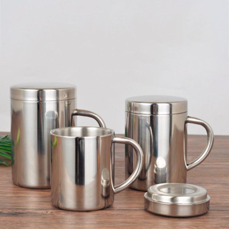 Двухслойная кофейная кружка из нержавеющей стали с крышкой портативная чашка дорожный стакан кофейный кувшин молочный чай чашки двойные о...