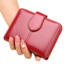 ONEFULL NEW FASHION GIRLS oil wax leather wallets women lady pure color hand bag coin purse wallet brand