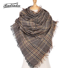 Badinka 2018 New Autumn Winter Cashmere Tartan Plaid Scarf Stole Women Wide Lattices Long Shawl Wrap Blanket Warm Tippet Bufanda