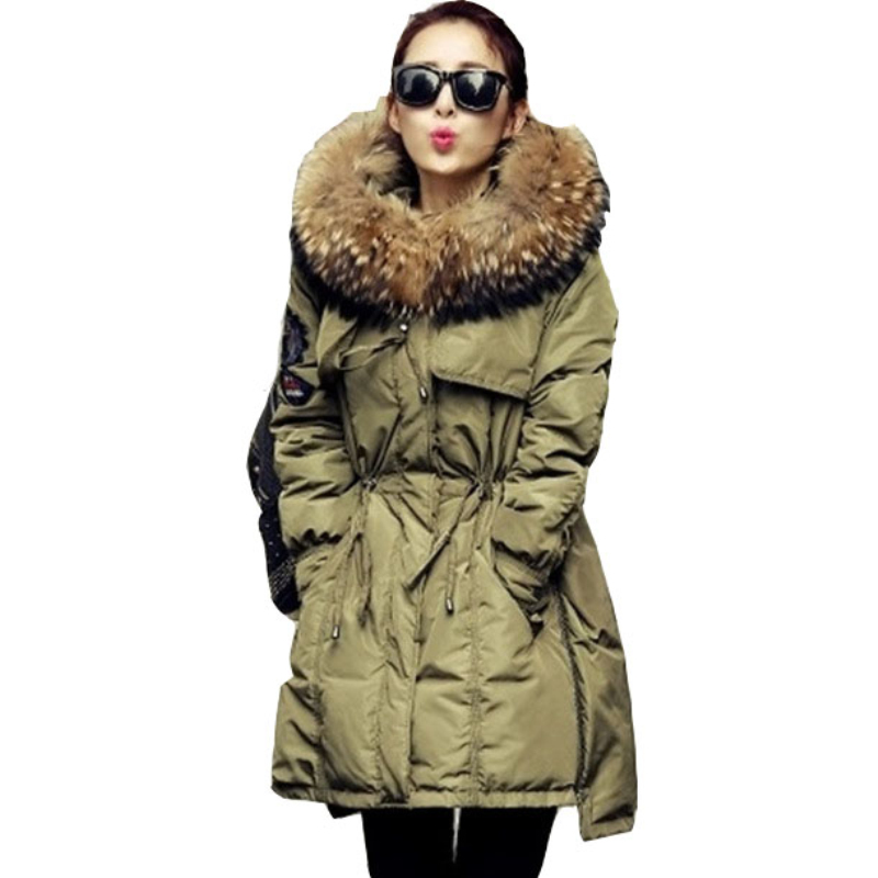 2018 Fur Winter Jacket Women White Duck Parka Jackets Natural Raccoon Fur Collar Female Winter Coat Women Parkas CC054