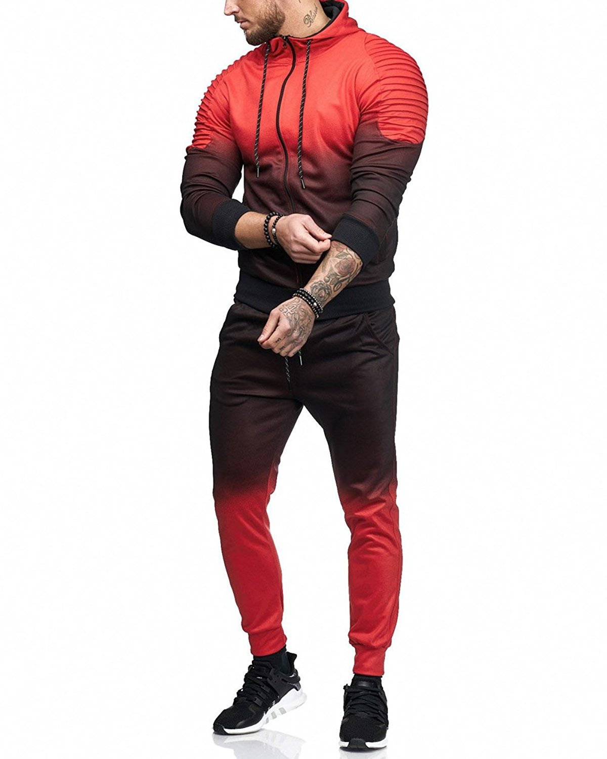 2 Pcs Set Men'S Long Sleeve Tracksuit + Low Waist Pants Jogging Autumn Workout Fitness Jacket Jogger Pants 2018 Plus Size