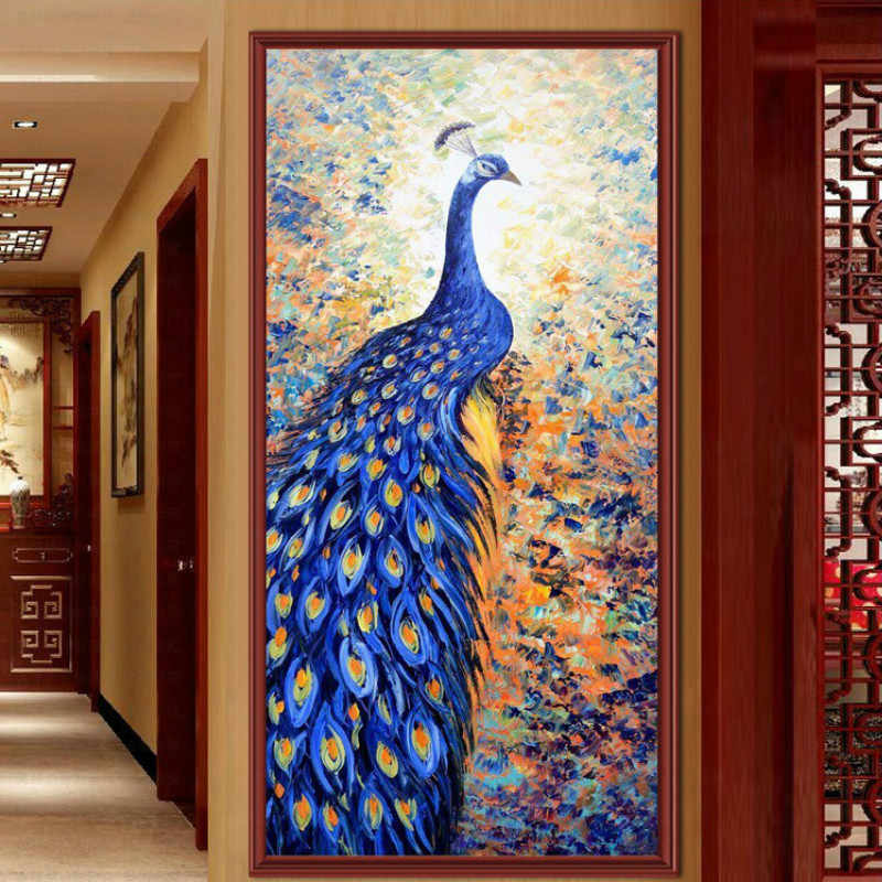 Blue Peacock Painting Wall Art Print Animal Canvas Painting kids Wall Picture Living Room Poster Home Decor Frameless Wallpaper