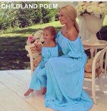 Лето семья соответствия одежды макси твердые шифон Мать Дочь Платья Семья посмотрите Одежда Пляж мама и дочь платье