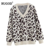 RUGOD Vintage sweater women Fashion V Neck Leopard printing Mink Cashmere knitted sweaters female casual pukkovers jumpers lady