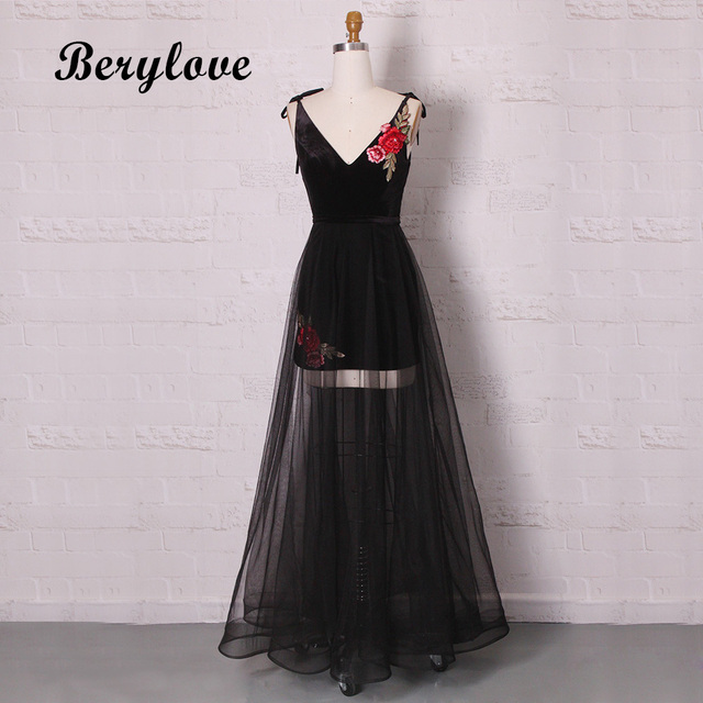 BeryLove Black Velvet Evening Dresses Styles V Neck Embroidery Tulle Formal  Evening Dress 2018 Prom Gowns Special Occasion Dress e9183f5b48f4