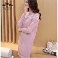 2016 Vestido de Otoño de Nueva Kpop Borde de Encaje Cosido Sección Larga Vestido de Suéter de Punto de Tocar Fondo Vestidos de Marea Más El Tamaño de Vestido de Las Mujeres