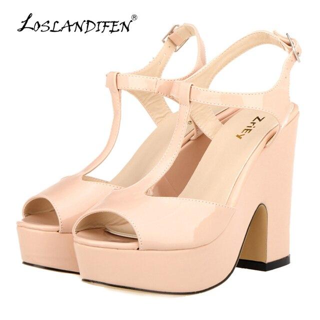 860d45ac7eae LOSLANDIFEN Women Platform Peep Toe High Heel Sandals Ladies Wedges Patent  Leather Party Wedding Shoes Zapatos Mujer 978-2PA