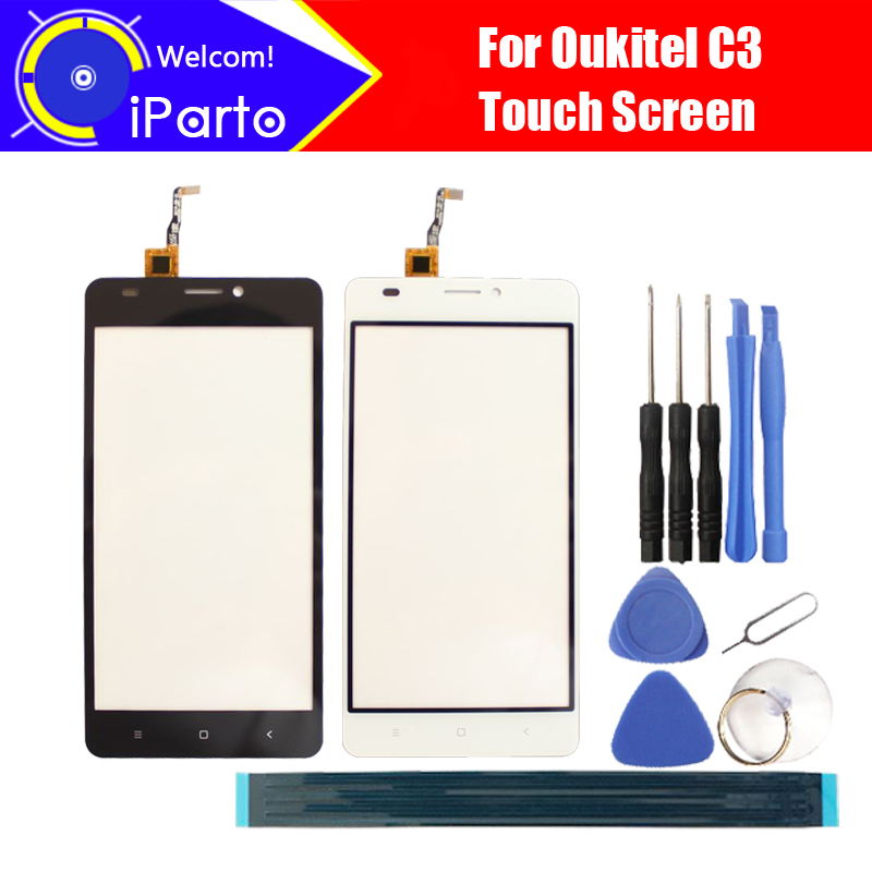 5.0 pouce Oukitel C3 Écran Tactile En Verre Panneau 100% Garantie D'origine Panneau de Verre Écran Tactile de Remplacement Pour C3 + Outil