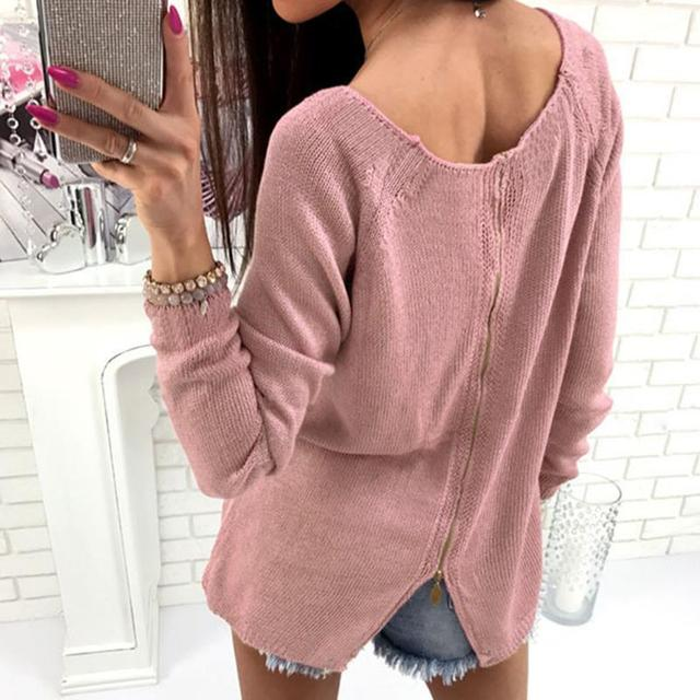 e6577d7bc6 Dark Gray Pink Winter Women Sweater Jumper Pullover Back Zipped O Neck Long  Sleeve Sweaters Knitted Pull Femme Knitwear WS2274V
