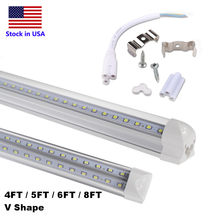 V-Shaped 4ft 5ft 6ft 8ft Cooler Door LED Tube T8 Integrated LED Tubes Double Sides Led Bulb Lights Plug and Play Stock In US(China)