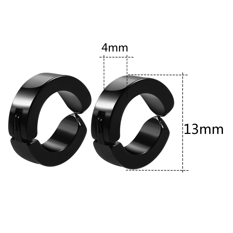 Pair Stainless Steel Non-Piercing Clip on Fake Mens Ear Stud Cuff Hoop Colorful Rock Ear Cuff Earrings Jewelry