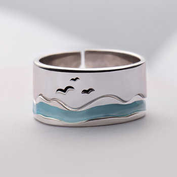 Thaya Ends Of The Earth Design Finger Rings S925 Silver Sky Blue Wave jellyfish Tropical Ring Women Turkish Elegant Jewelry - DISCOUNT ITEM  40% OFF All Category