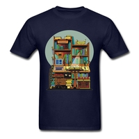 Library Study Men S Shirts Musical Art Purple Clothing For Men Cotton Funny T Shirts