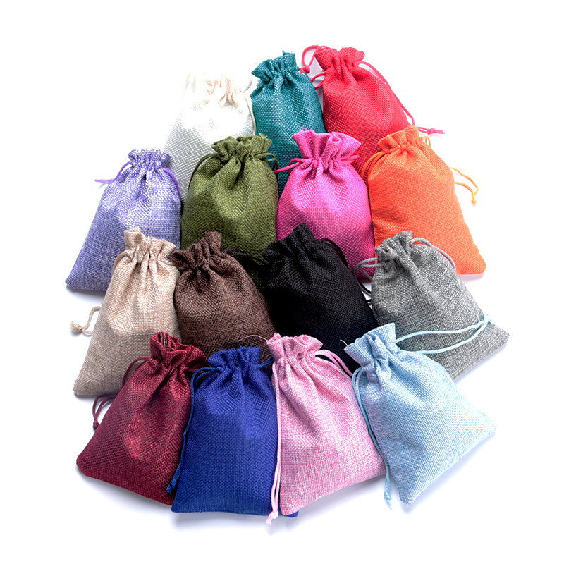 Hotsale 5pcs 7x9 10x14 13x18cm Small Jute Bags Bracelet Jewelry Packaging Bags Linen Drawstring Gift Bag Pouches Can Custom Logo
