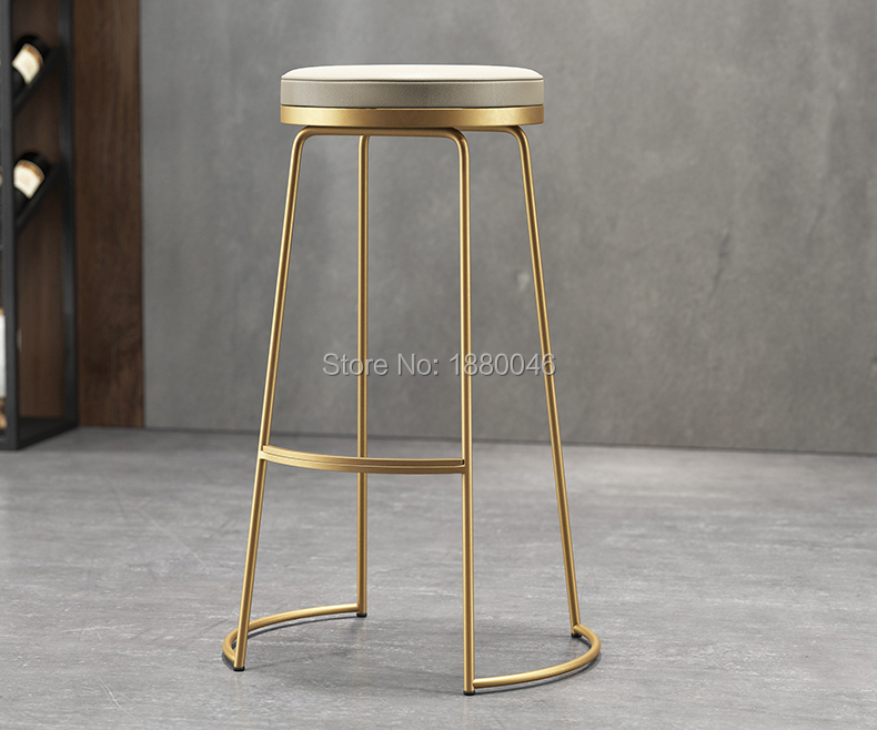High quality 45cm/65cm/75cm Nordic bar stool bar chair creative coffee chair gold high stool simple dining chair wrought iron цены онлайн