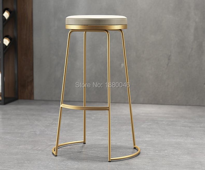 High Quality 45cm/65cm/75cm Nordic Bar Stool Bar Chair Creative Coffee Chair Gold High Stool Simple Dining Chair Wrought Iron