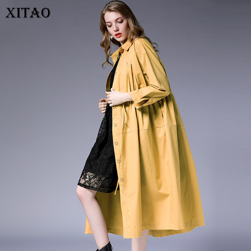 [XITAO] Single Breasted Women 2018 Autumn Europe Fashion Turn-down Collar Full Sleeve Solid Color A-line Casual   Trench   LJT4137