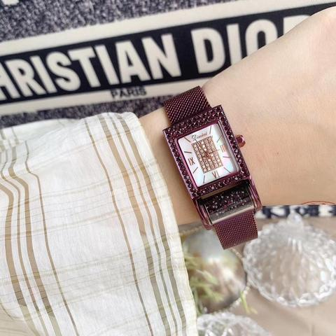 Relógios para as Mulheres Relógio de Pulso de Aço Nobre Roxo Cristais Milanese Pulseira Novidade Fiação Barril Quadrado Relógio Analógico Completo