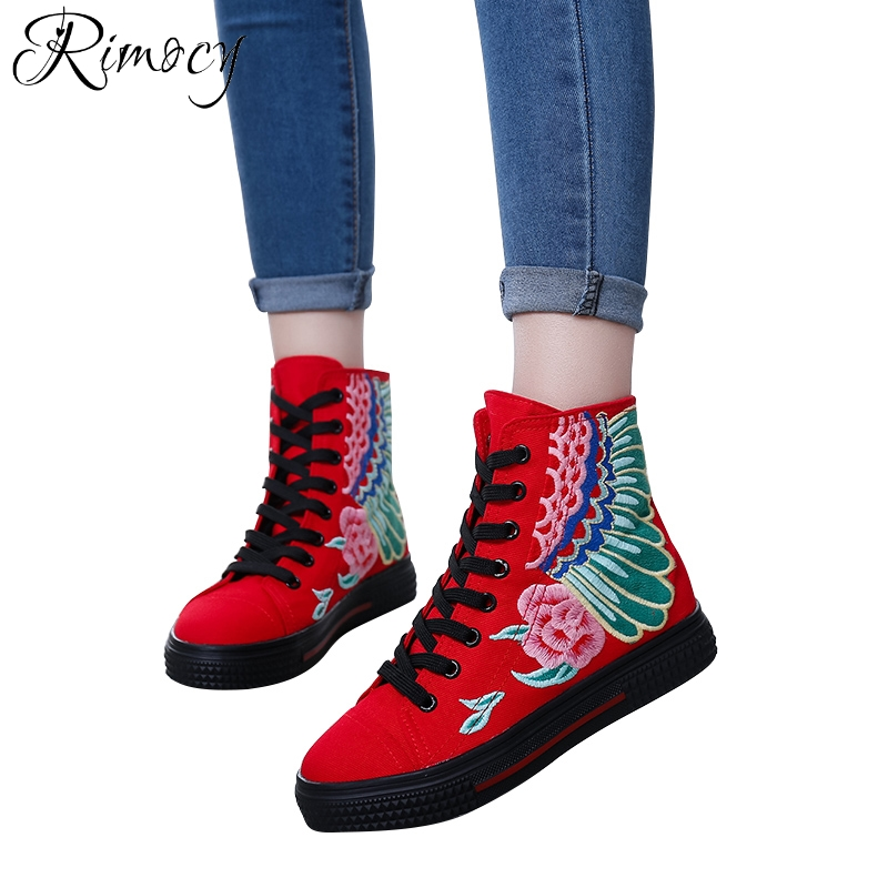 b1a669374300 Rimocy spring lace up vintage embroidery floral canvas women 2018 summer  new fashion design red black platform shoes woman flats-in Women s Flats  from Shoes ...