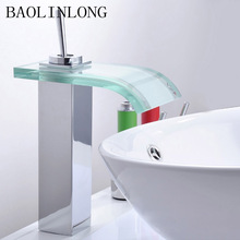 Waterfall Style Glass Brass Basin Bathroom Faucet Tap Vanity Vessel Sinks Mixer Faucets
