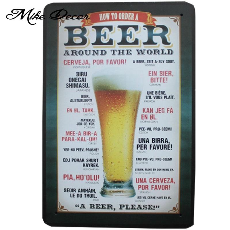 [Mike86] Pivo po celém světě Plechové cedule Vinobraní dům Kavárna Restaurace Pivo Plakát Metal Craft ART Malba 20 * 30 CM A-46