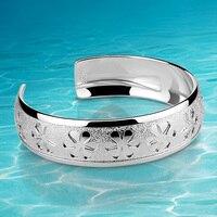 Подлинная твердых стерлингового серебра 925 Классические манжеты браслет, Женская мода jewelry браслет