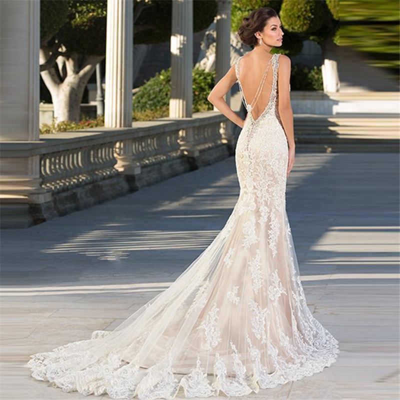 Image 2 - 2019 Boho Chic Wedding Dresses Spaghetti Straps Twist Lace Chiffon Mermaid Open Back Bohemian Dress Bridal GownWedding Dresses   -