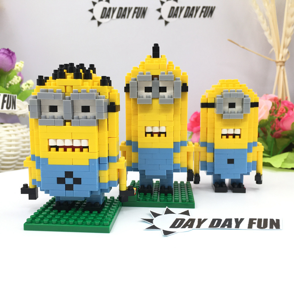 3pcs Despicable Me Minions 6-7.5CM LOZ Diamond Building Blocks Action 3D Brick education toy for Kids