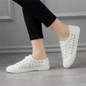 Image 3 - SWYIVY Women White Shoes Sneakers Rivet Punk 2018 Autumn Spring Female Casaul Shoes Ladies Leisure Sneakers Flat 44 Large Size