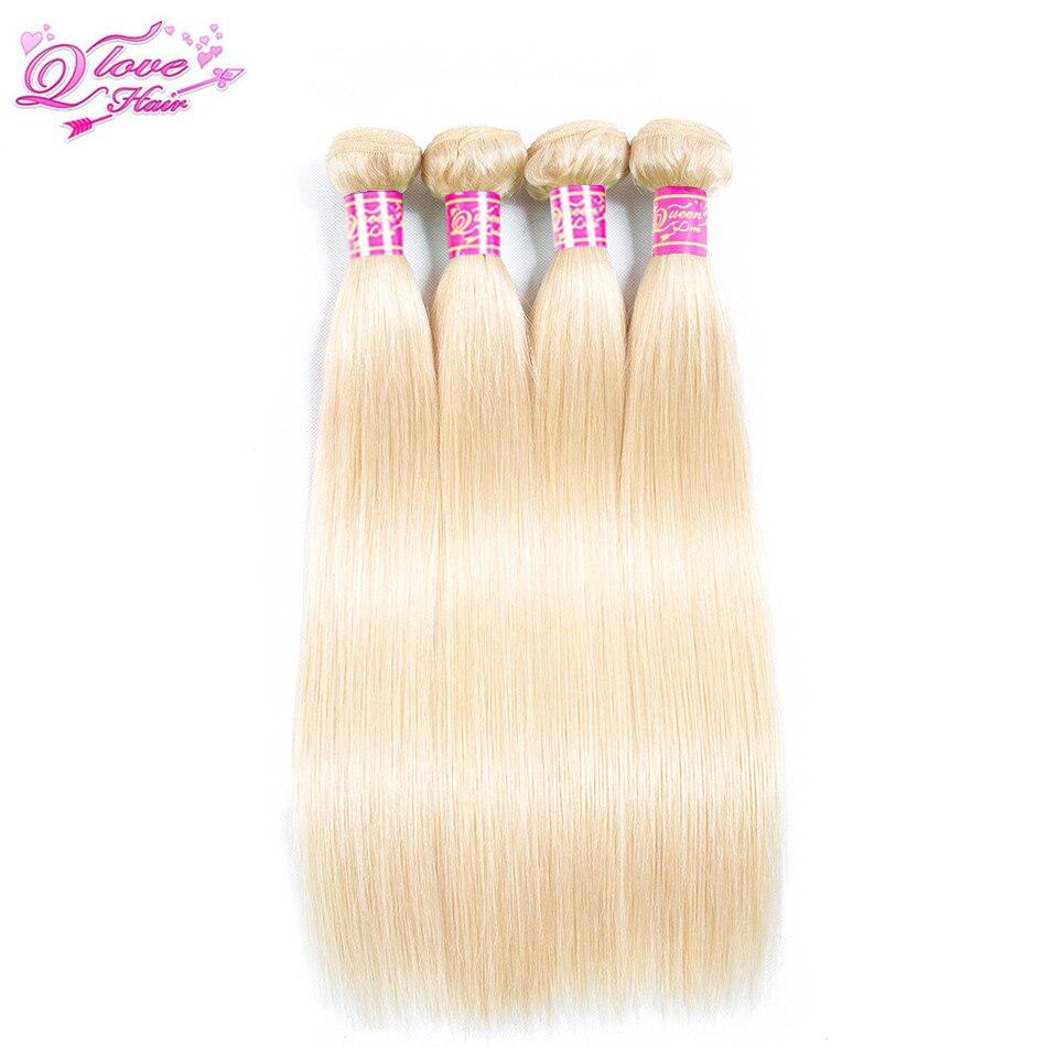 Queen Love Hair Peruvian Straight Hair 4 Bundles 613 Colored Human Hair Non-Remy 613 Bundles Hair Extensions