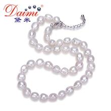 Daimi Genuino Barroco Collar de Perlas, Collar de moda Para la Mujer, nueva Bijouterie Joyería 9-10mm Perla Del Collar Del Ahogador