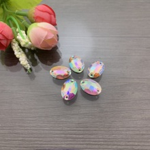 DIY oval jewel double hole beads resin jewel 10X15 hand sewn colorful dress wedding dancing shoes bag accessory 50p