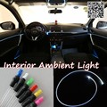 For SsangYong Korando C200 2010 Car Interior Ambient Light Panel illumination For Car Inside Cool Strip Light Optic Fiber Band