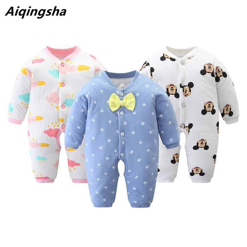 Baby Romper Jumpsuit winter Roupas De Bebe thicken Cotton Unicorn Baby Clothes Bow 3 6 9 12 18 24 Months Infant Girl Jumpsuit puseky 2017 infant romper baby boys girls jumpsuit newborn bebe clothing hooded toddler baby clothes cute panda romper costumes