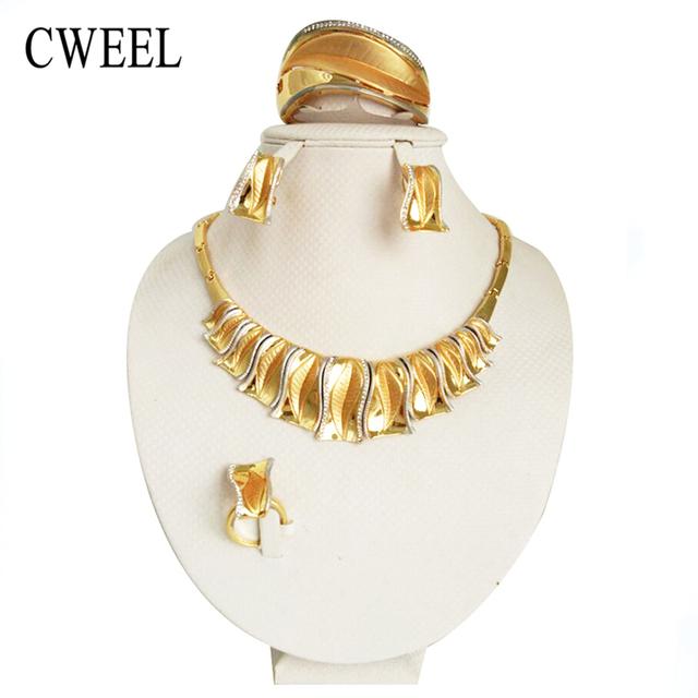 Cweel clássico frisado noiva dubai conjuntos de jóias de casamento para as mulheres banhado a ouro conjunto de colar colares brincos partido acessórios